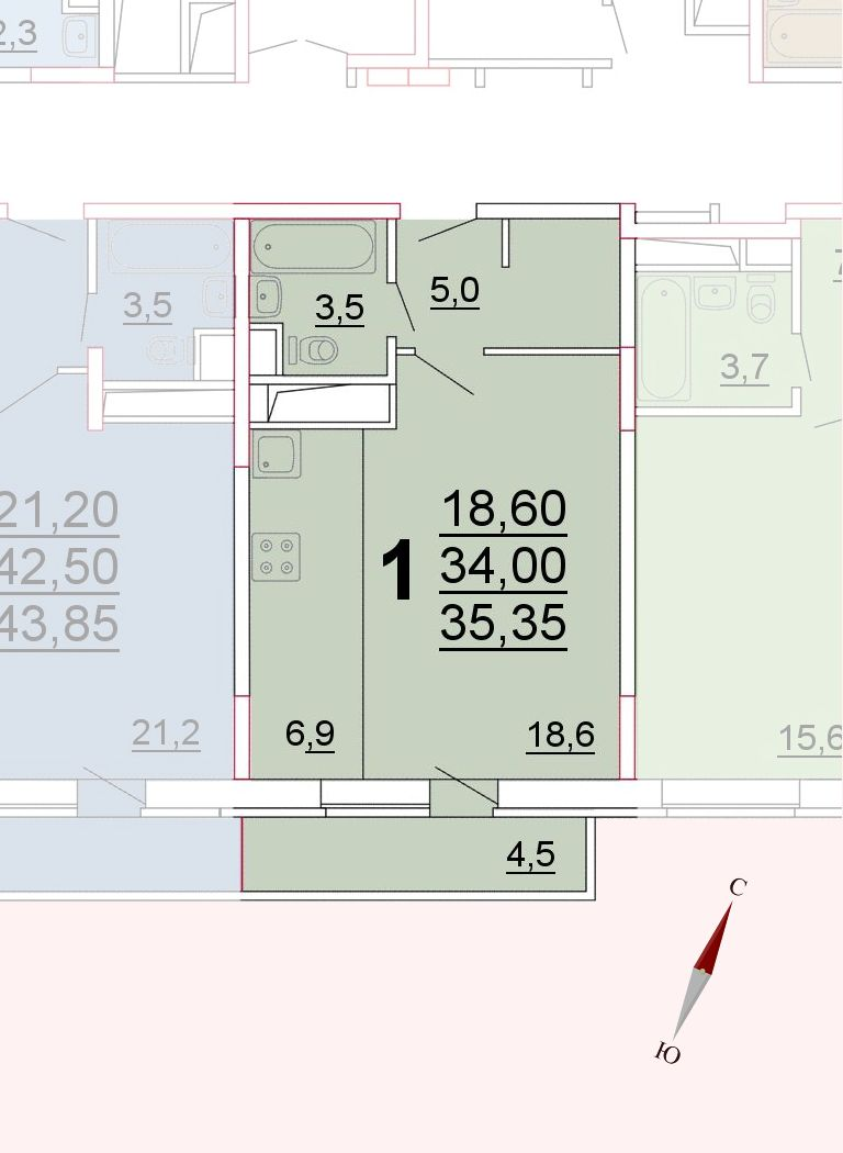 Микрорайон «Центральный», корпус 52а, секция 3, квартира 35,35 м2