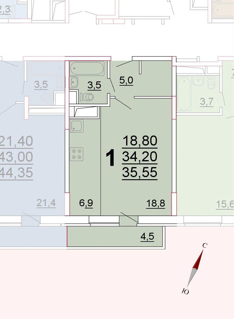 Микрорайон «Центральный», корпус 52а, секция 3, квартира 35,55 м2