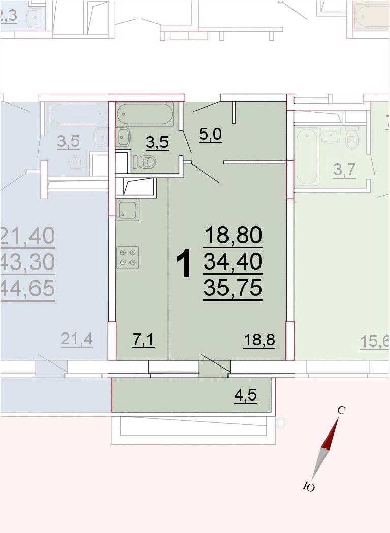 Микрорайон «Центральный», корпус 52а, секция 3, квартира 35,75 м2