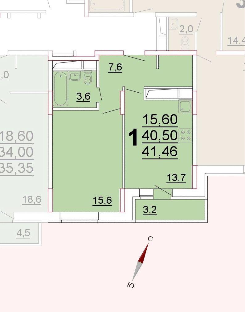 Микрорайон «Центральный», корпус 52а, секция 3, квартира 41,46 м2