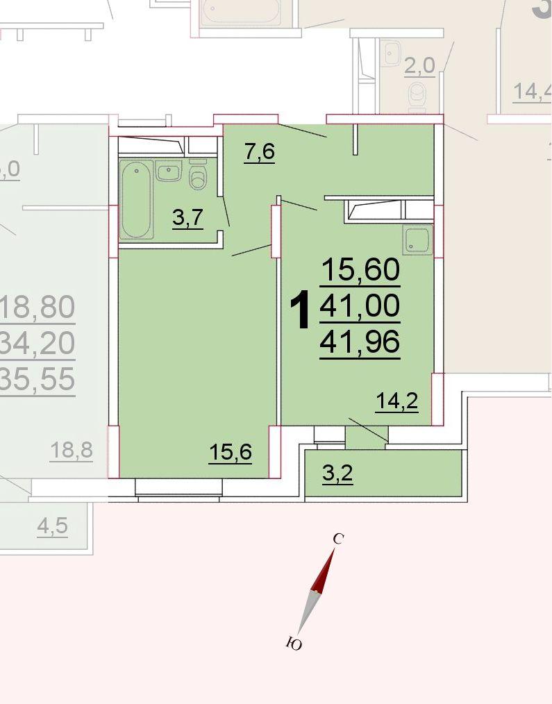 Микрорайон «Центральный», корпус 52а, секция 3, квартира 41,96 м2
