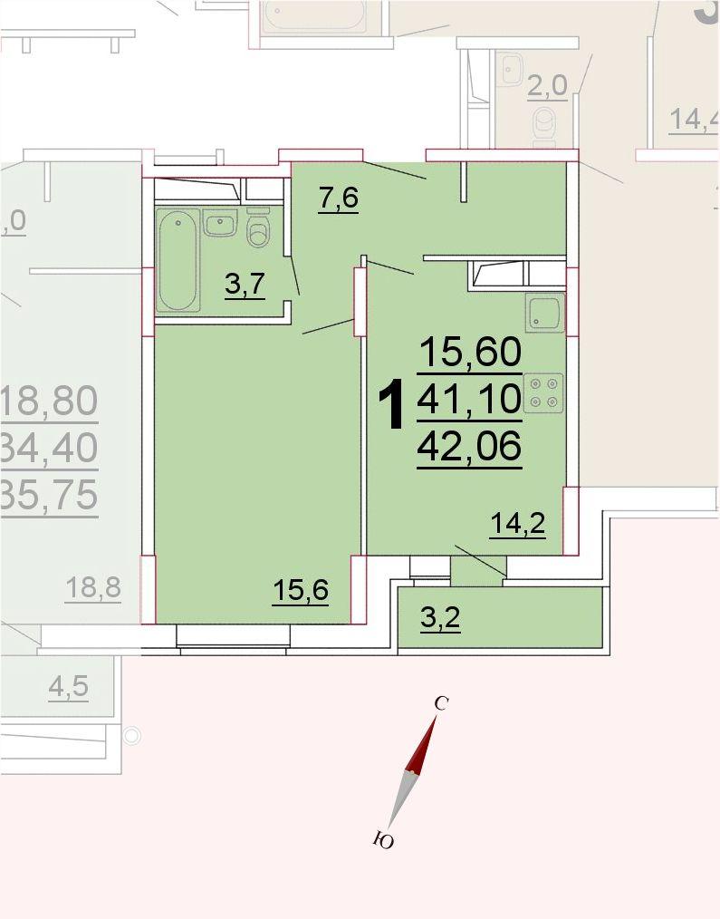 Микрорайон «Центральный», корпус 52а, секция 3, квартира 42,06 м2
