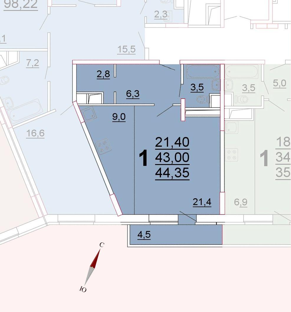 Микрорайон «Центральный», корпус 52а, секция 3, квартира 44,35 м2