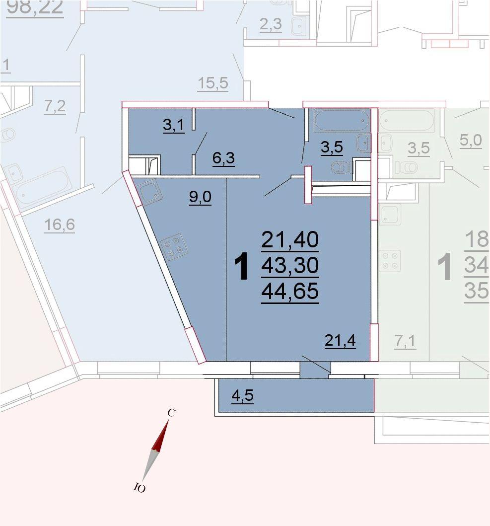 Микрорайон «Центральный», корпус 52а, секция 3, квартира 44,65 м2