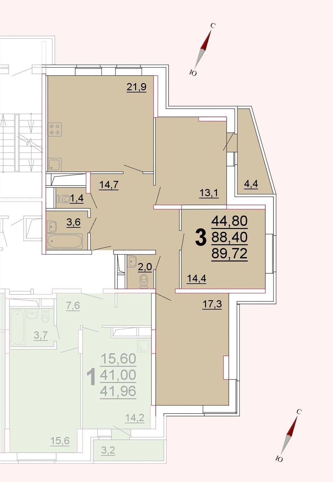 Микрорайон «Центральный», корпус 52а, секция 3, квартира 89,72 м2