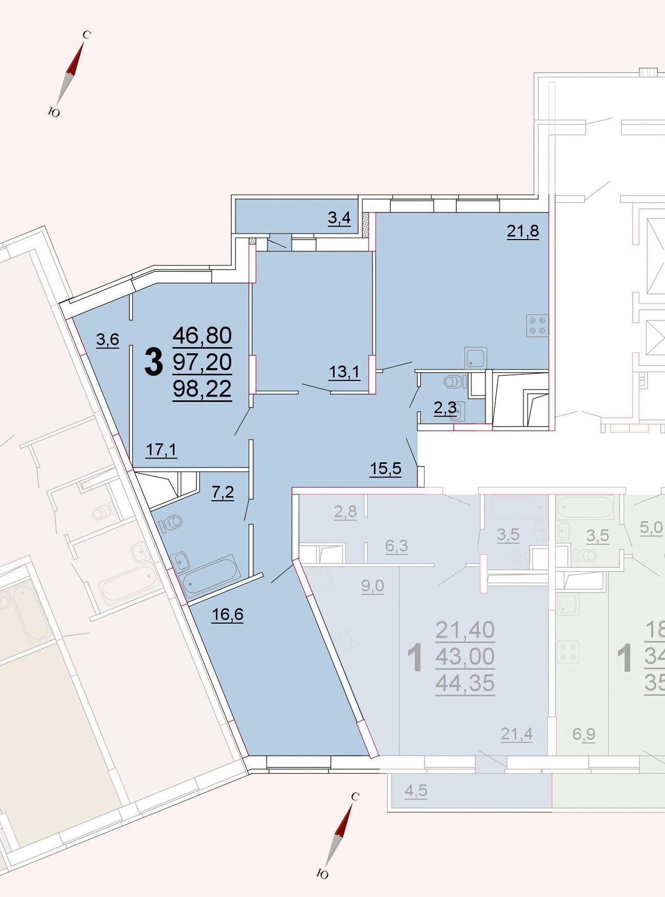 Микрорайон «Центральный», корпус 52а, секция 3, квартира 98,22 м2