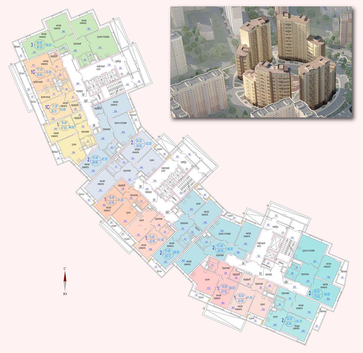 Микрорайон «Центральный», корпус 52г, выбор секций