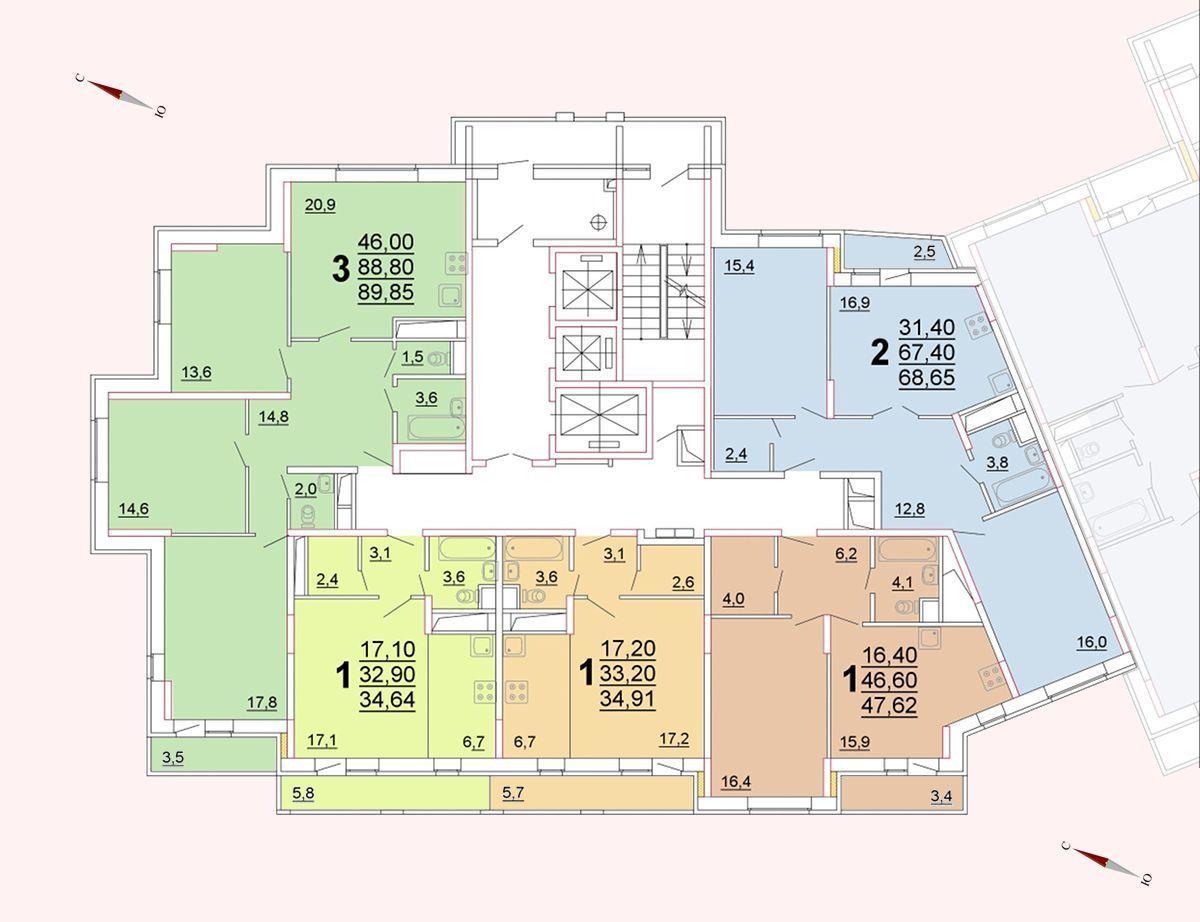 Микрорайон «Центральный», корпус 52г, секция 1, этаж/этажи 10-13