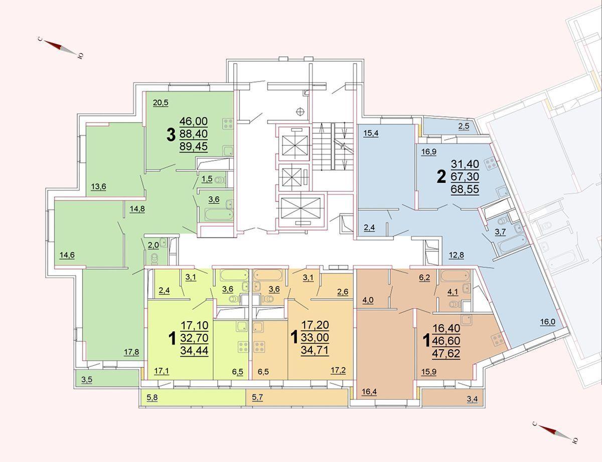 Микрорайон «Центральный», корпус 52г, секция 1, этаж/этажи 18-21
