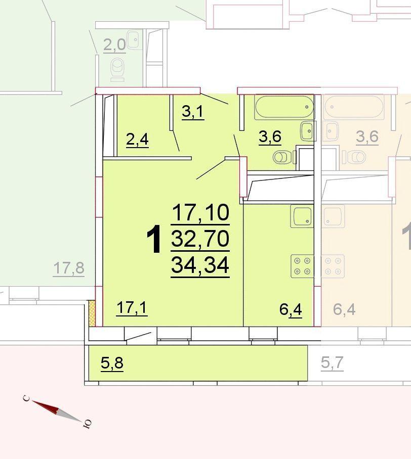 Микрорайон «Центральный», корпус 52г, секция 1, квартира 34,34 м2
