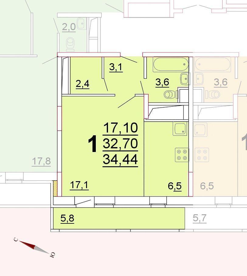 Микрорайон «Центральный», корпус 52г, секция 1, квартира 34,44 м2