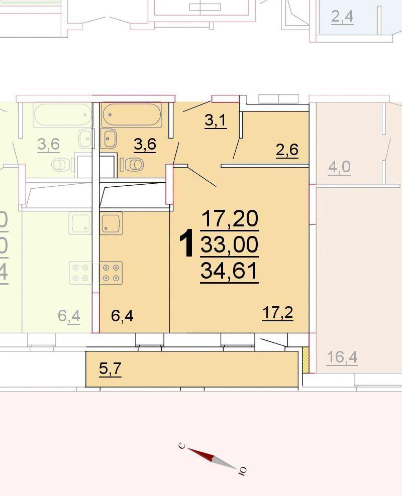 Микрорайон «Центральный», корпус 52г, секция 1, квартира 34,61 м2