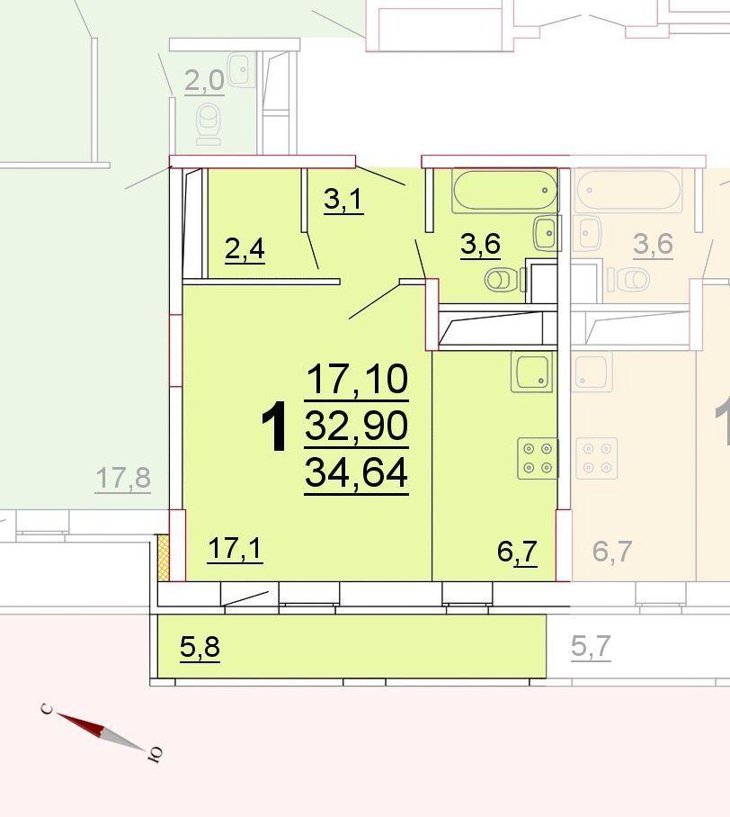 Микрорайон «Центральный», корпус 52г, секция 1, квартира 34,64 м2