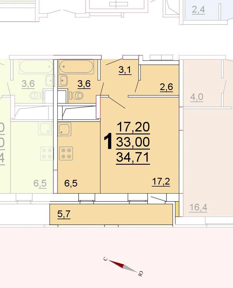Микрорайон «Центральный», корпус 52г, секция 1, квартира 34,71 м2