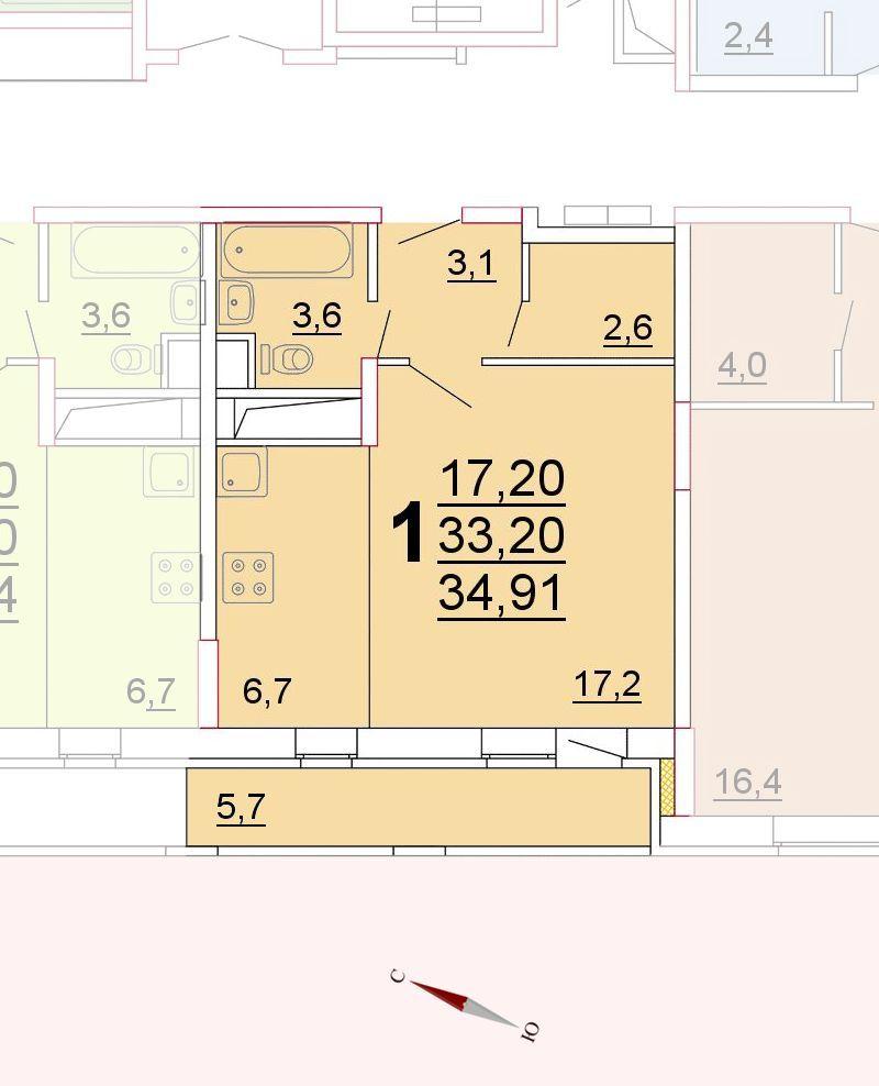Микрорайон «Центральный», корпус 52г, секция 1, квартира 34,91 м2