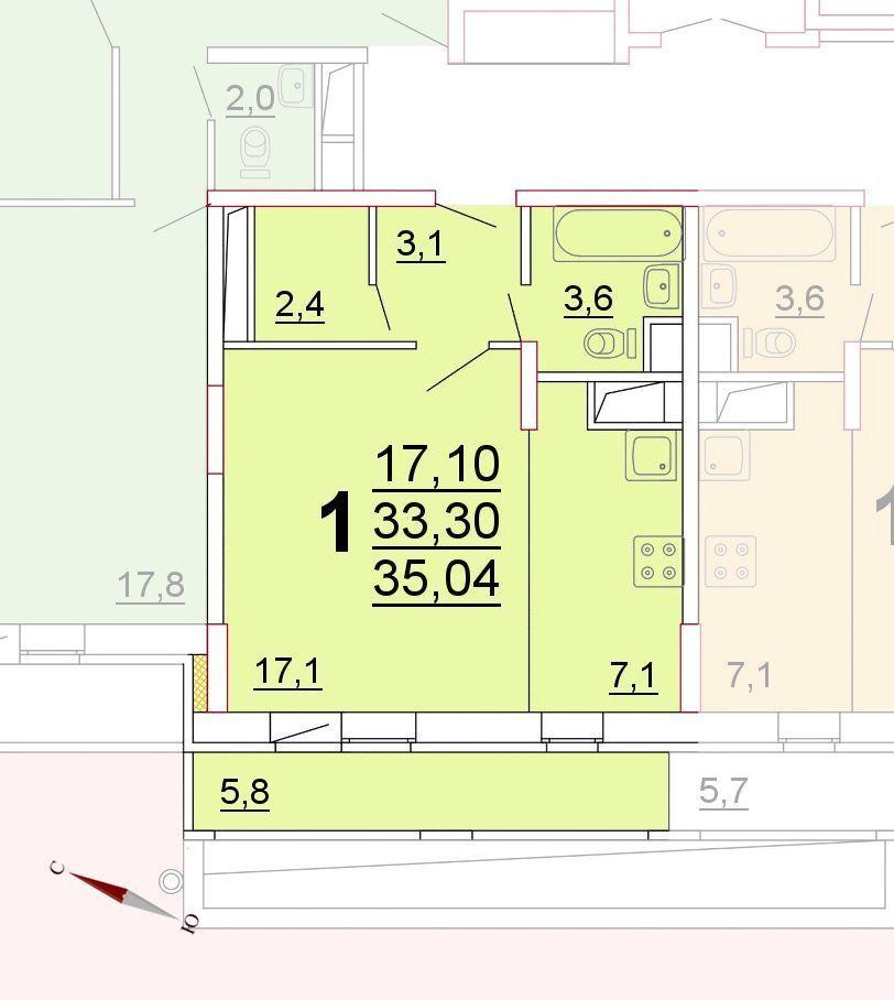 Микрорайон «Центральный», корпус 52г, секция 1, квартира 35,04 м2