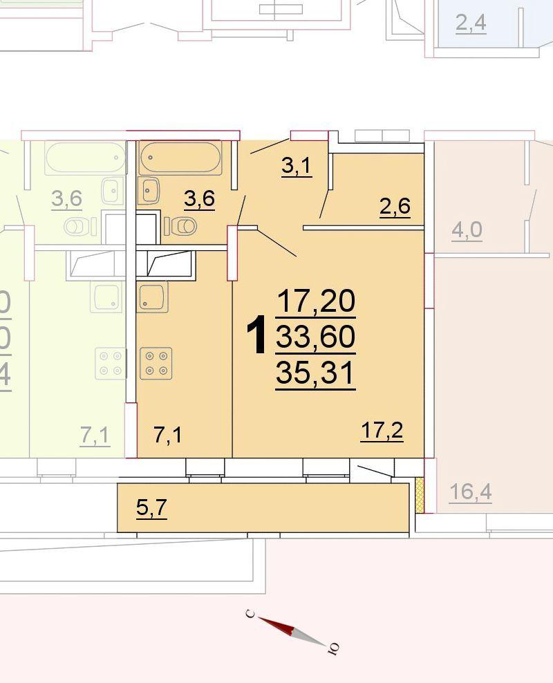 Микрорайон «Центральный», корпус 52г, секция 1, квартира 35,31 м2