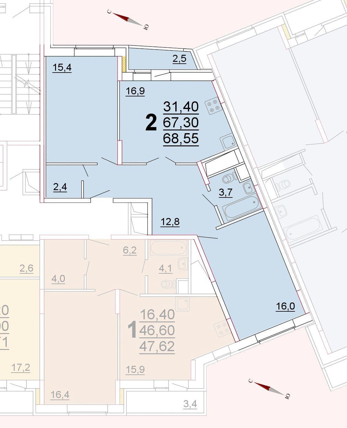 Микрорайон «Центральный», корпус 52г, секция 1, квартира 68,55 м2