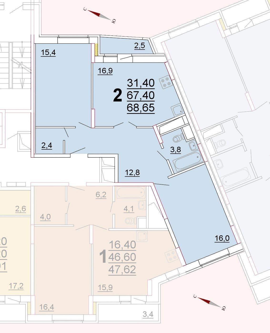Микрорайон «Центральный», корпус 52г, секция 1, квартира 68,65 м2