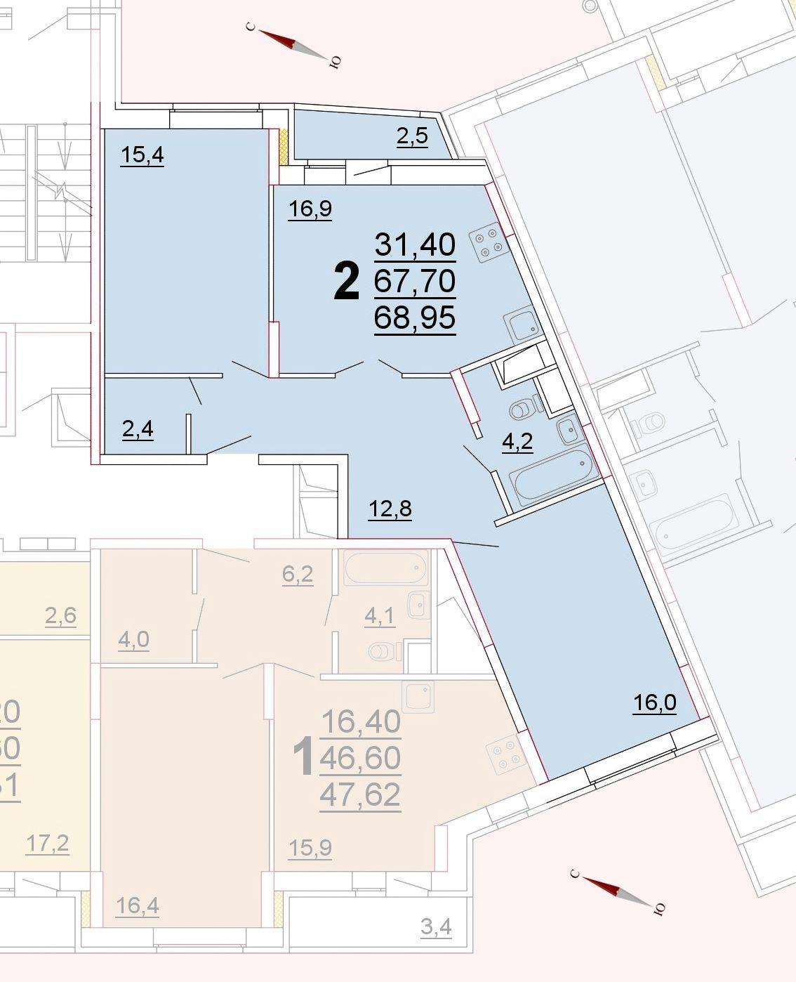 Микрорайон «Центральный», корпус 52г, секция 1, квартира 68,95 м2