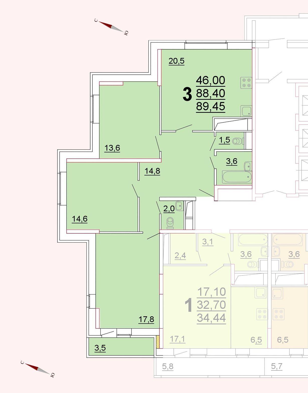 Микрорайон «Центральный», корпус 52г, секция 1, квартира 89,45 м2