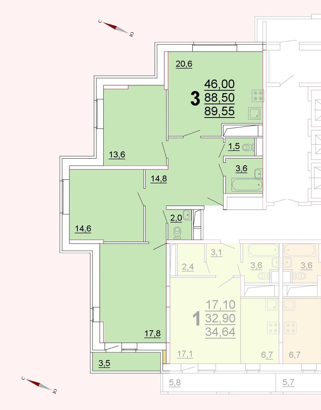 Микрорайон «Центральный», корпус 52г, секция 1, квартира 89,55 м2