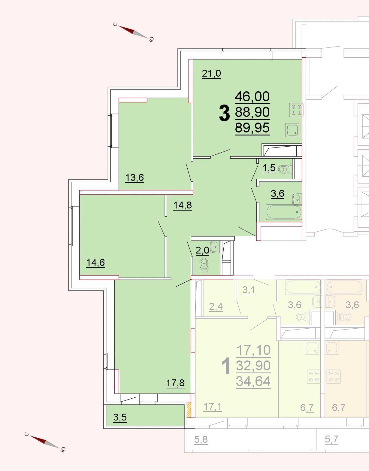 Микрорайон «Центральный», корпус 52г, секция 1, квартира 89,95 м2