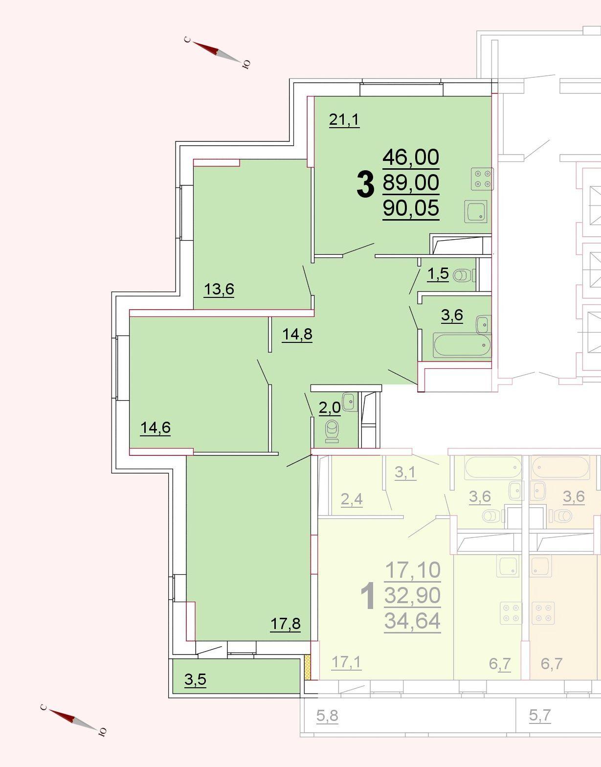 Микрорайон «Центральный», корпус 52г, секция 1, квартира 90,05 м2