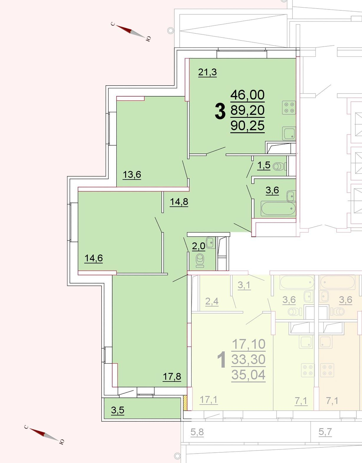 Микрорайон «Центральный», корпус 52г, секция 1, квартира 90,25 м2
