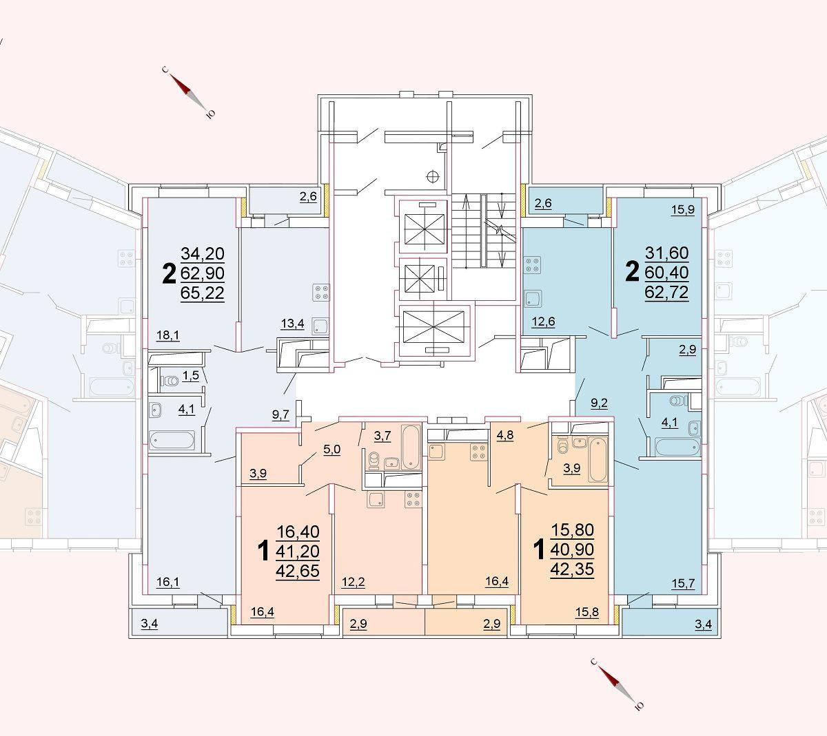 Микрорайон «Центральный», корпус 52г, секция 2, этаж/этажи 10-13