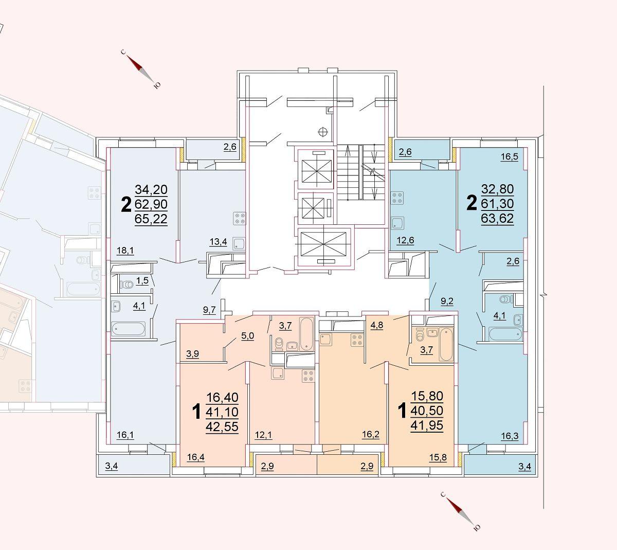 Микрорайон «Центральный», корпус 52г, секция 2, этаж/этажи 16-17