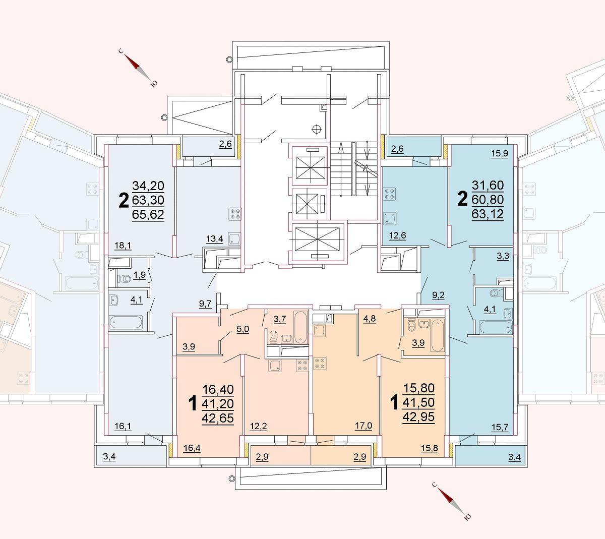 Микрорайон «Центральный», корпус 52г, секция 2, этаж/этажи 2