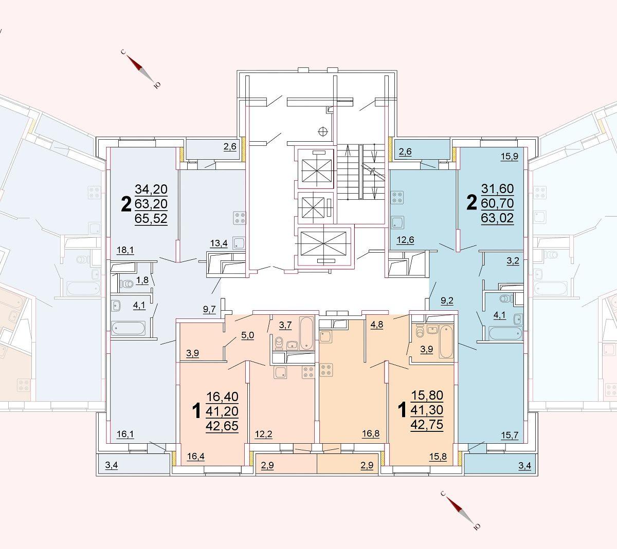 Микрорайон «Центральный», корпус 52г, секция 2, этаж/этажи 3-5