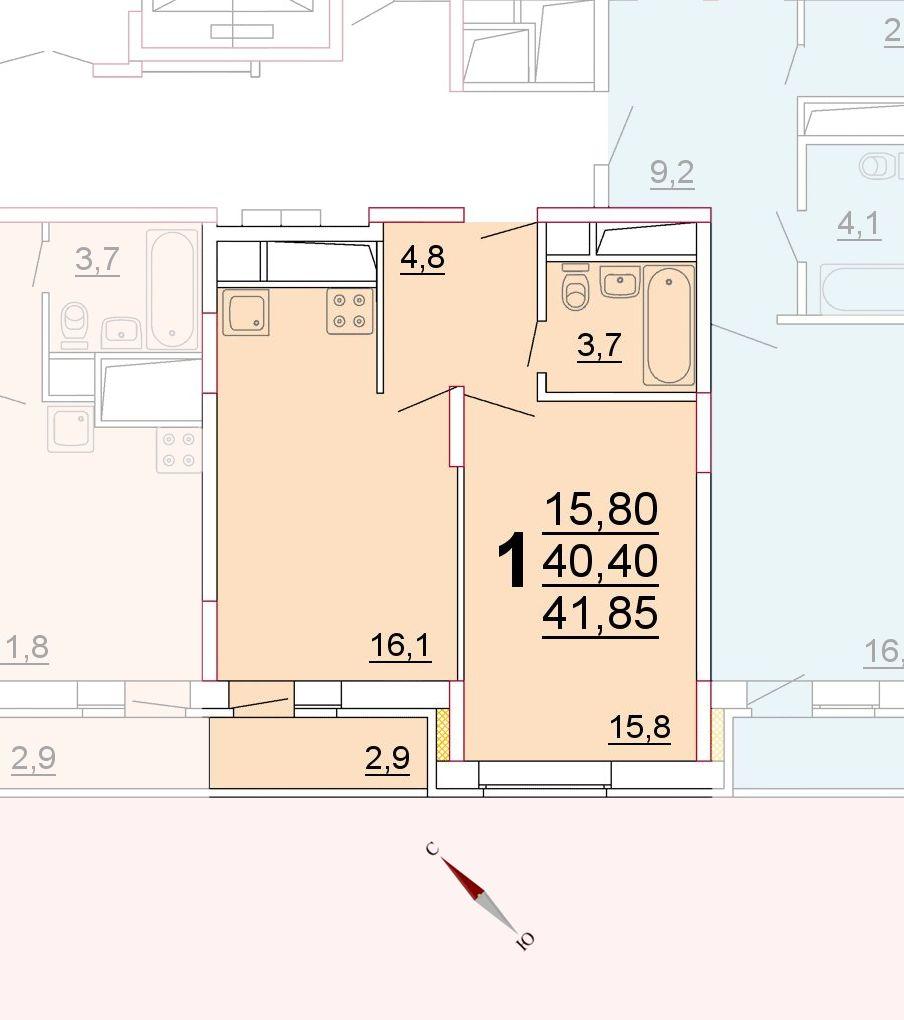 Микрорайон «Центральный», корпус 52г, секция 2, квартира 41,85 м2