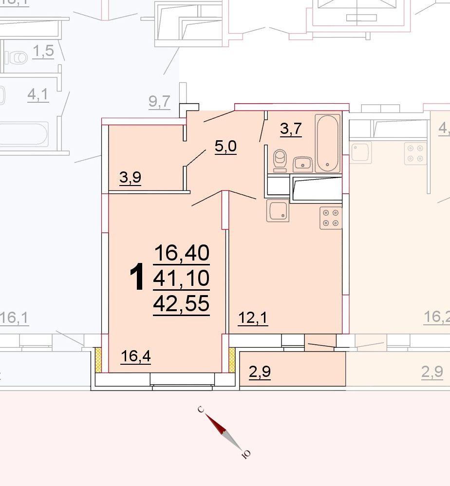 Микрорайон «Центральный», корпус 52г, секция 2, квартира 42,55 м2