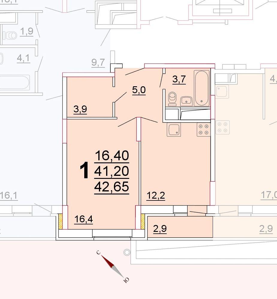 Микрорайон «Центральный», корпус 52г, секция 2, квартира 42,65 м2