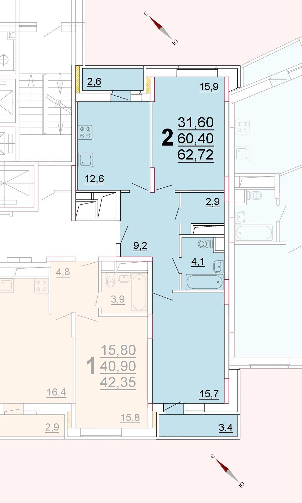 Микрорайон «Центральный», корпус 52г, секция 2, квартира 62,72 м2