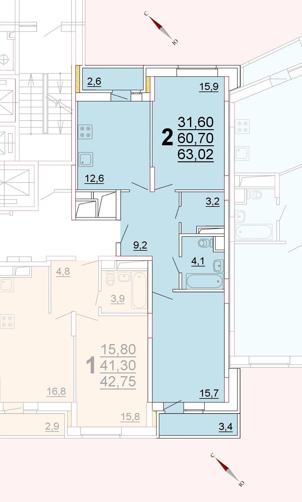 Микрорайон «Центральный», корпус 52г, секция 2, квартира 63,02 м2