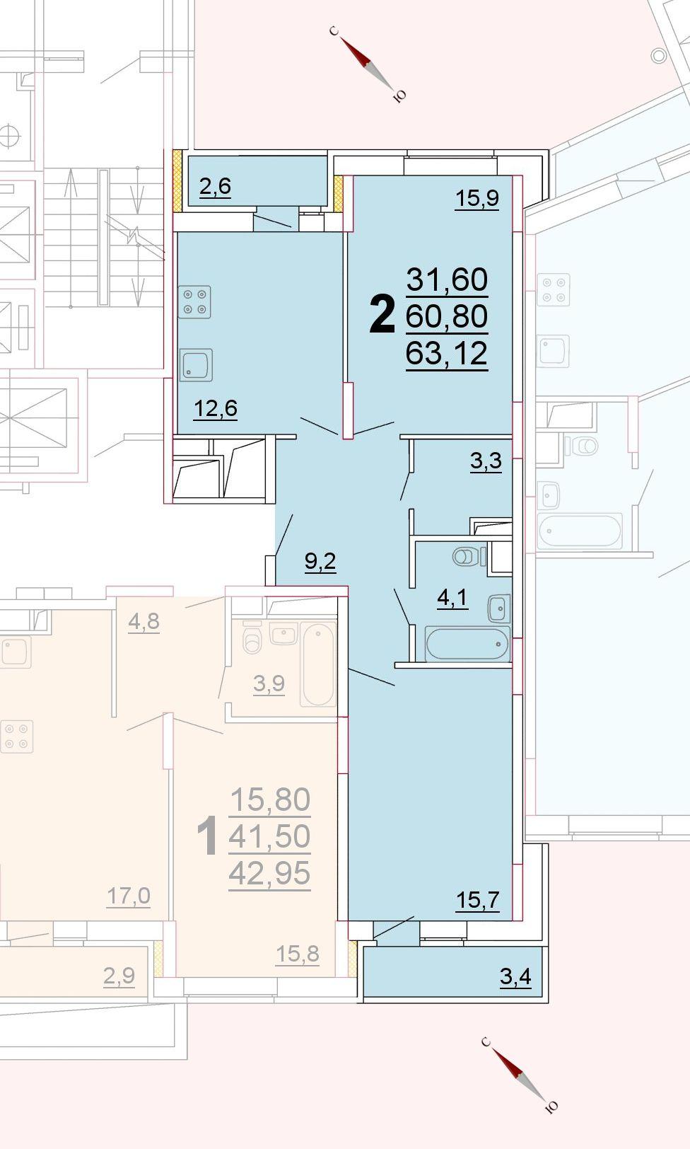 Микрорайон «Центральный», корпус 52г, секция 2, квартира 63,12 м2