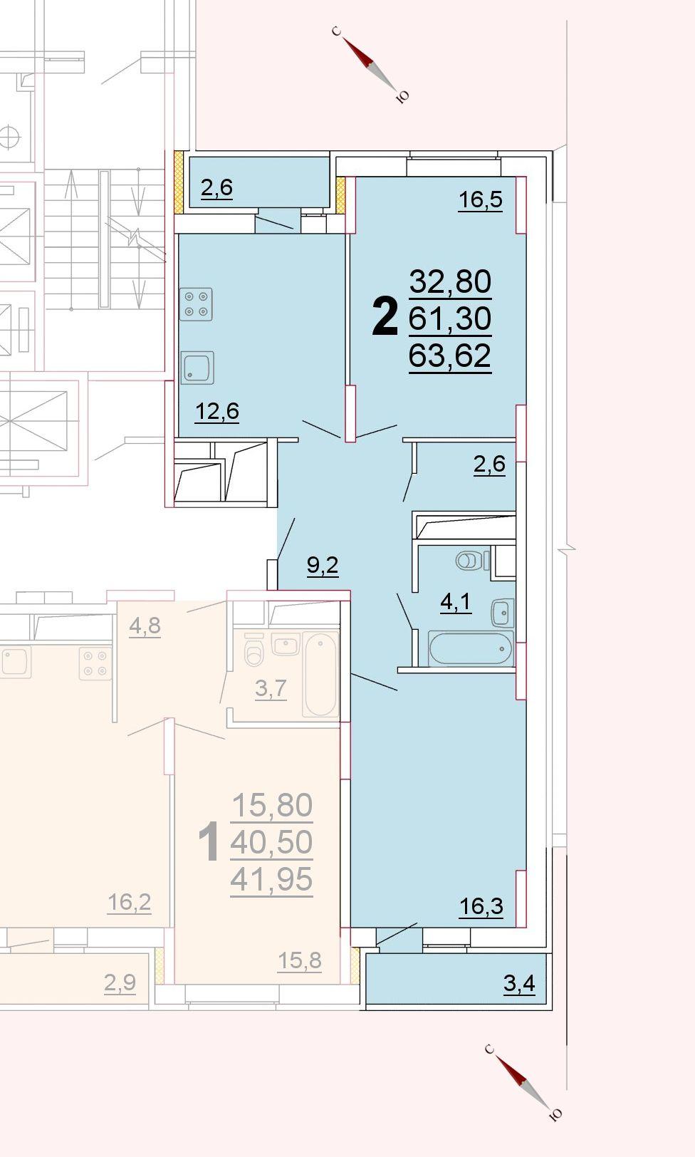 Микрорайон «Центральный», корпус 52г, секция 2, квартира 63,62 м2