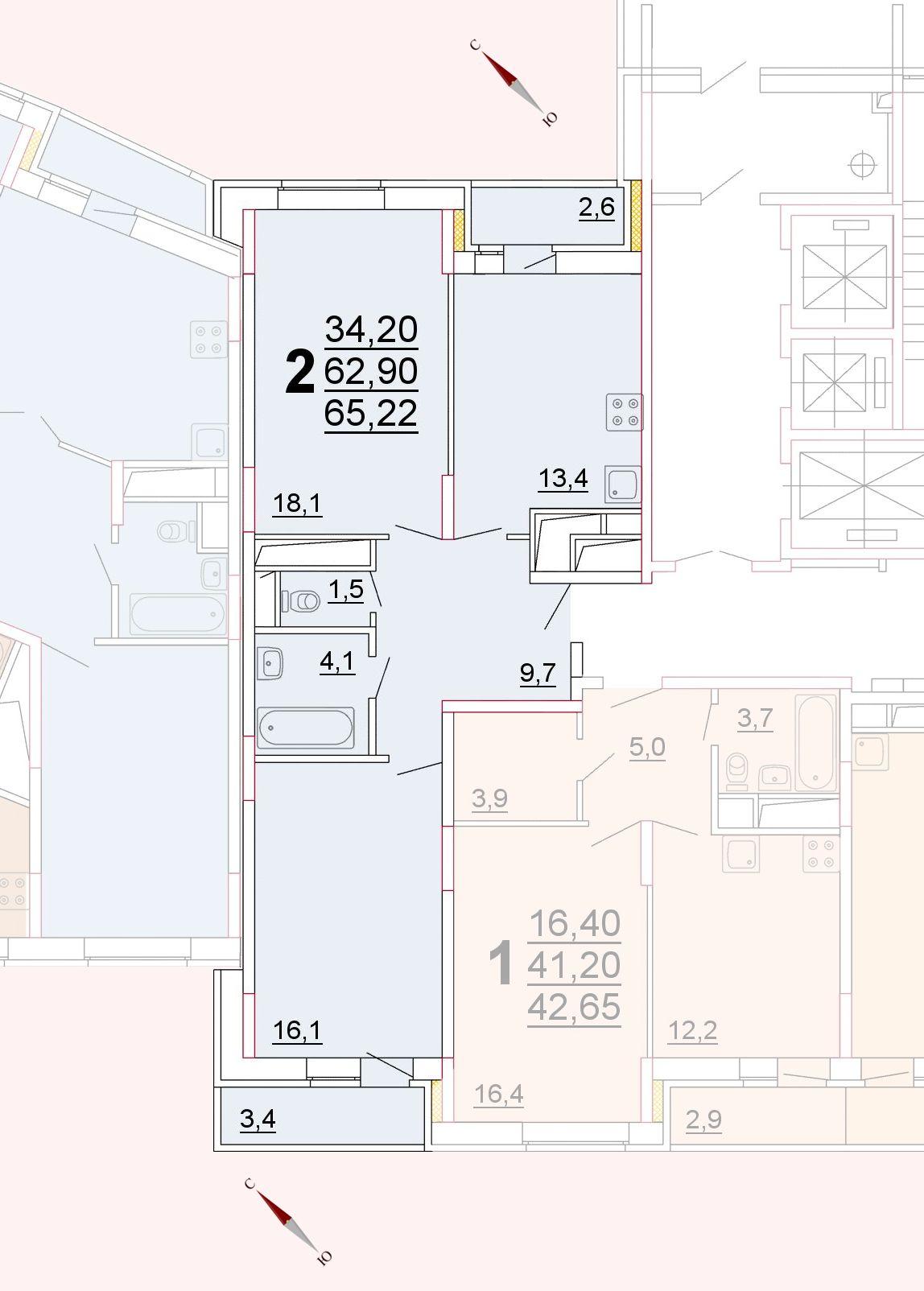 Микрорайон «Центральный», корпус 52г, секция 2, квартира 65,22 м2