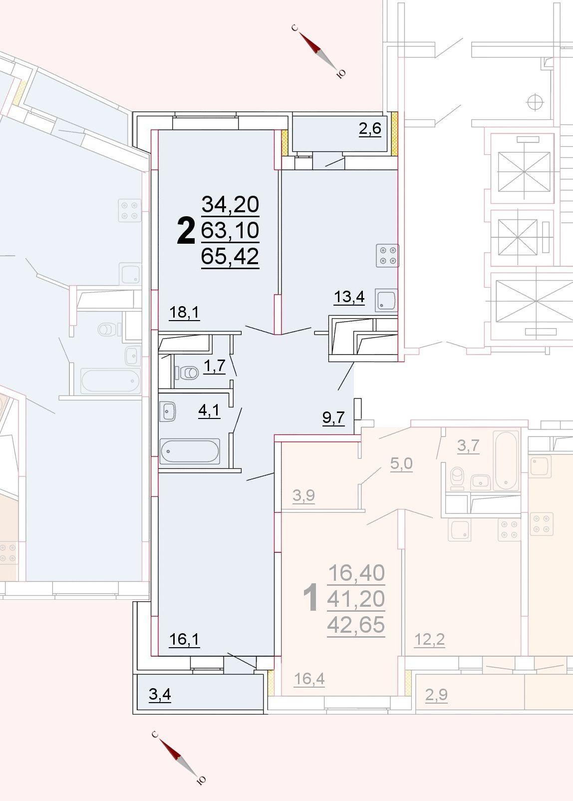 Микрорайон «Центральный», корпус 52г, секция 2, квартира 65,42 м2