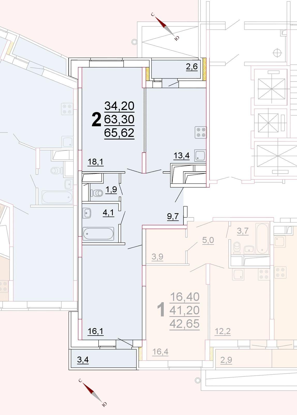 Микрорайон «Центральный», корпус 52г, секция 2, квартира 65,62 м2