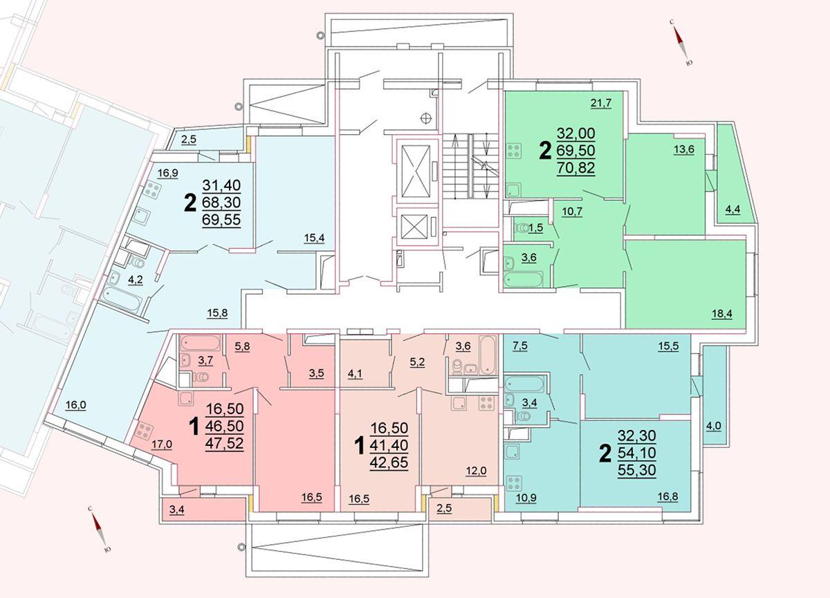 Микрорайон «Центральный», корпус 52г, секция 3, этаж/этажи 2