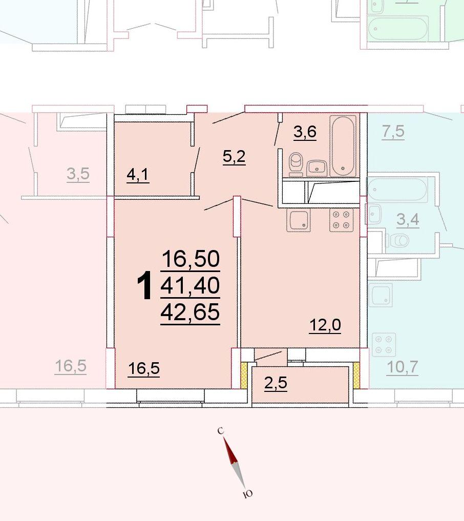 Микрорайон «Центральный», корпус 52г, секция 3, квартира 42,65 м2