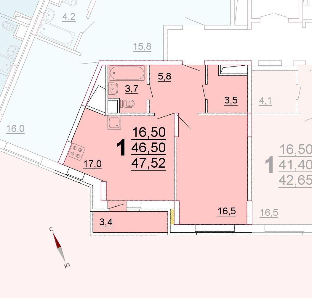 Микрорайон «Центральный», корпус 52г, секция 3, квартира 47,52 м2