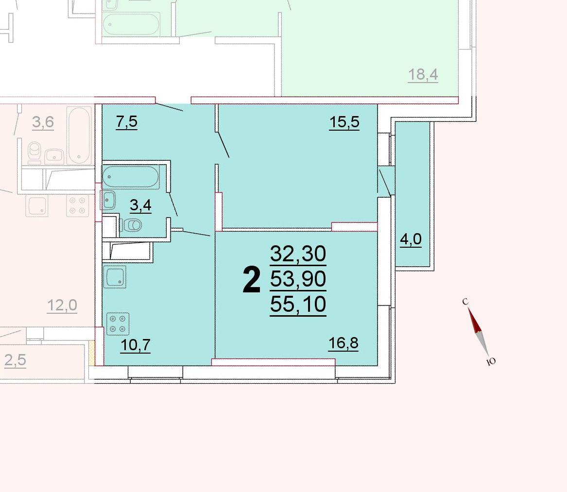 Микрорайон «Центральный», корпус 52г, секция 3, квартира 55,10 м2