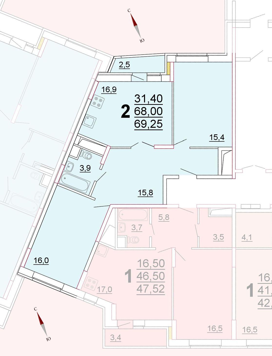 Микрорайон «Центральный», корпус 52г, секция 3, квартира 69,25 м2