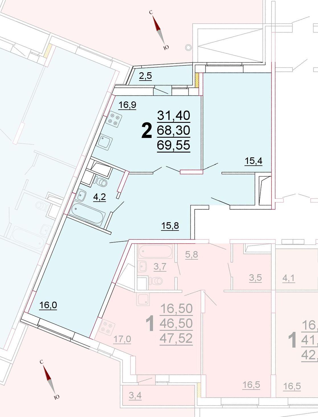 Микрорайон «Центральный», корпус 52г, секция 3, квартира 69,55 м2