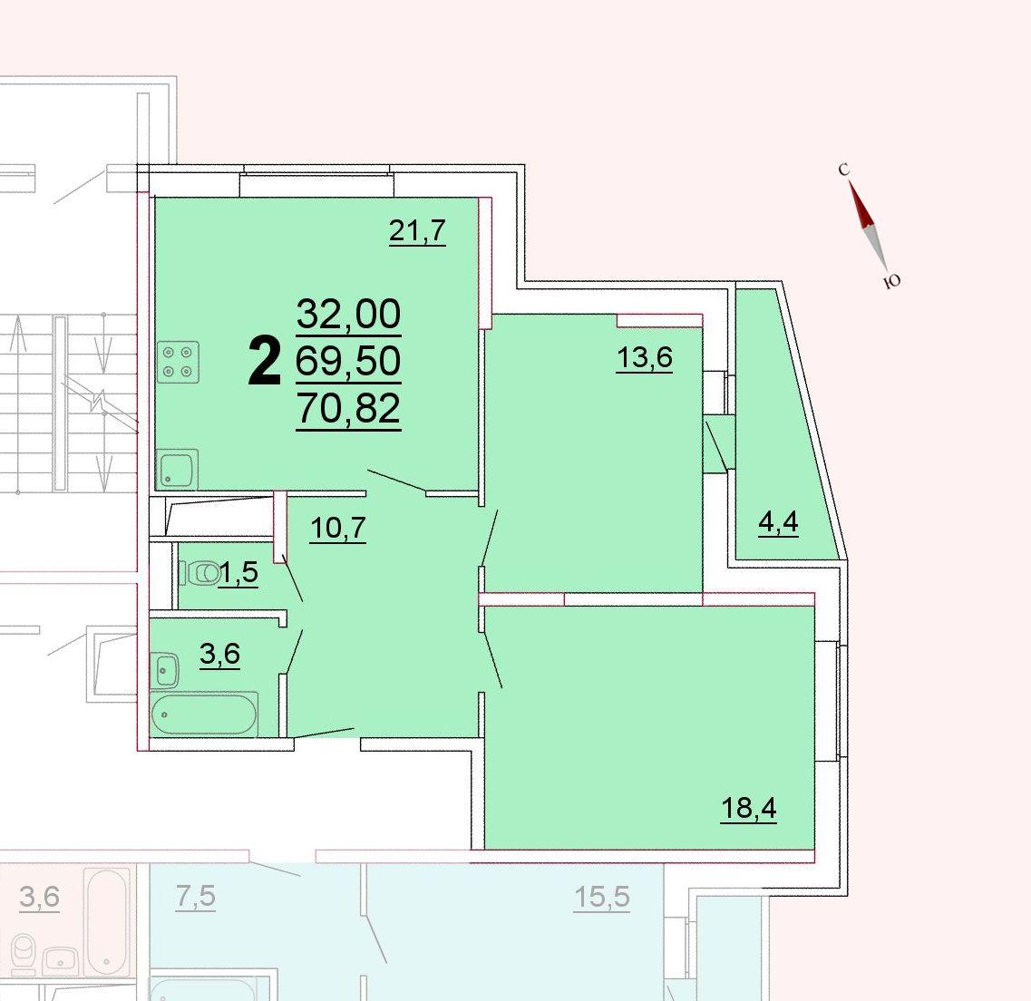 Микрорайон «Центральный», корпус 52г, секция 3, квартира 70,82 м2